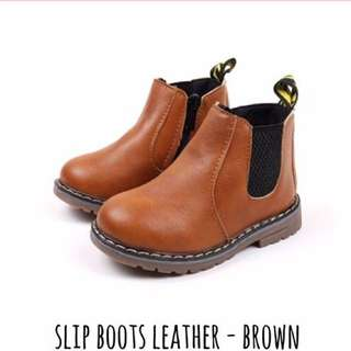 SLIP BOOTS LEATHER-Brown