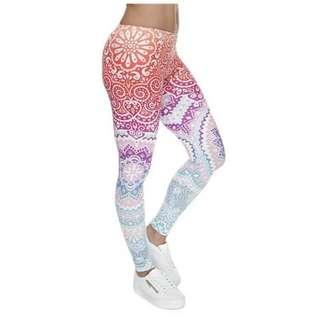 Women Fashion Legging Aztec Round Ombre Printing leggins Slim High Waist Leggings Woman Pants soft - free size