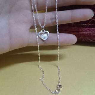 Genuine 925 Sterling Italy Silver Heart w/ Stones Necklace