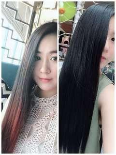 Silky black hair dye with enzyme