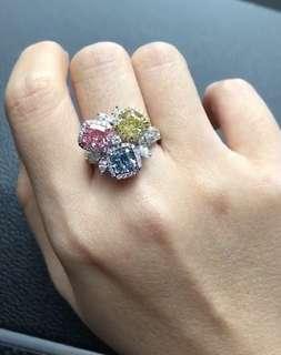 粉鑽、藍鑽、黃鑽戒指