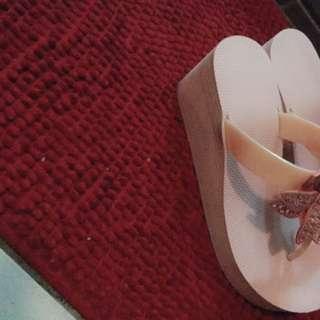 施華洛世奇水鑽粉紅色楔型涼鞋