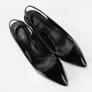 Charles & Keith Sling Back Black Low Heels size 35