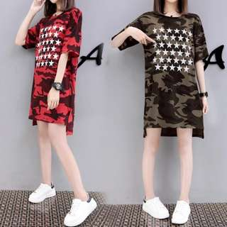 PO Camo Star T Shirt Dress