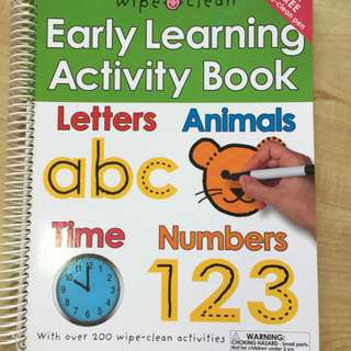 Brand new early learning activity book - wipe-clean