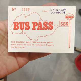 Rare 1973 Singapore bus pass for police