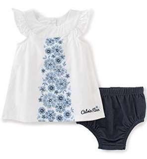 BNIB Calvin Klein Baby Girls' 2 Pieces Denim Dress With Panty-Belted 12 months