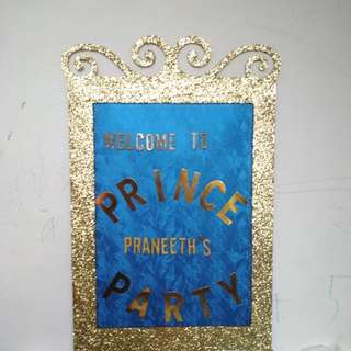 Prince Party Welcome board