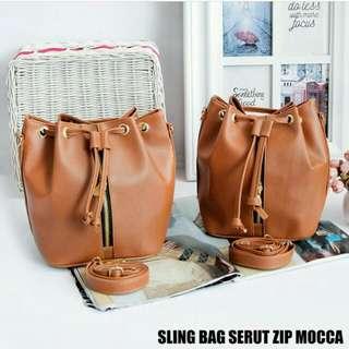 Sling Bag Serut Zipp Mocca