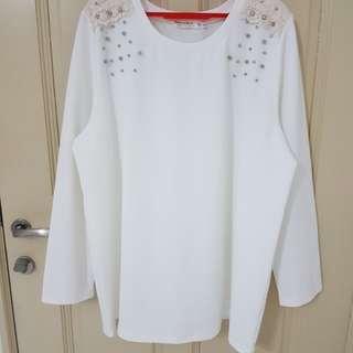 ORANGE BEAR White Top with Beads - Plus Size