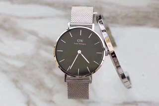 Daniel Wellington Watch 32mm petite black silver watch + cuff