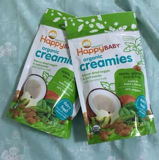 Happy Baby Organic Creamies - coconut , Kiwi , spinach x2pkt