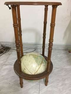 Wooden stand with globe (spoilt)