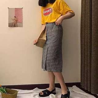 🚚 格子開叉半身裙