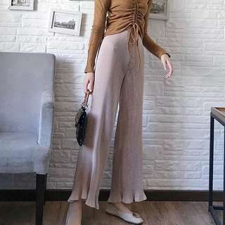 (More cols) Hot press Pleated Long Pants