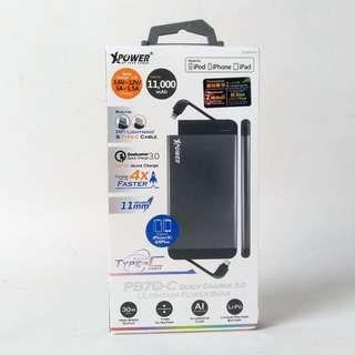 XPower PB7Q-C Quick Charge 3.0 MFi 外置充電器 (11,000mAh, 內置 Type-C 及 Lightning 線)