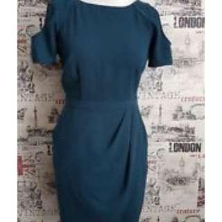 Warehouse teal cold shoulder tulip dress