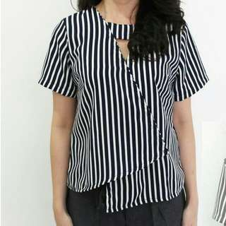 Stripes Office Choker Blouse