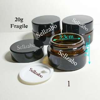 Fragile Brown Containers Casings Tubs : Dark Colour Size Portable Samples 30ml 30g Travel Use Refill Sellzabo