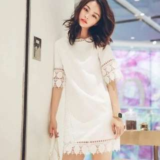 BNWT White dress with crochet details