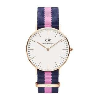 Daniel Wellington Watch 36mm classic white pink Nato strap