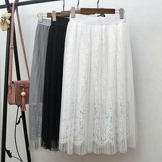 高腰百摺蕾絲長裙