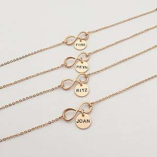 BL036-4A- Personalised Modern Infinity Bracelet with Max 4 Alphabets Per Disc - EITHER Shiny Rose Gold, Matt Rhodium or Matt Gold Plated Disc - Made to Order