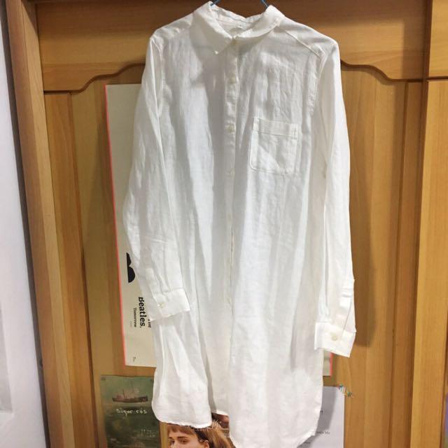 全新無印良品棉麻白色襯衫上衣洋裝