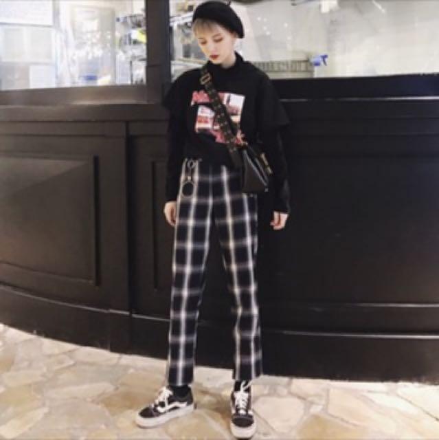 韓版格子褲