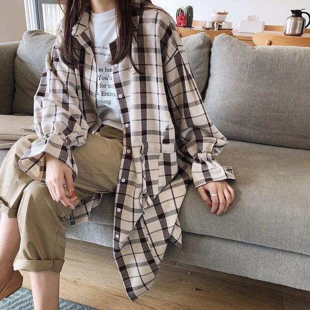(預購)棉麻格紋喇叭袖襯衫