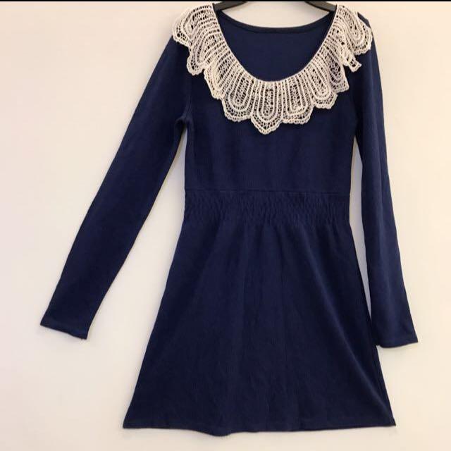 深藍色長袖內搭洋裝