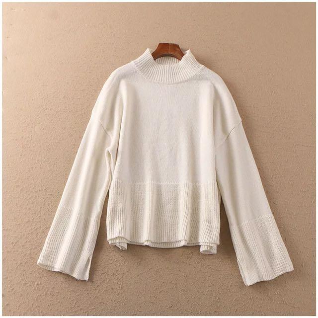 小高領寬袖針織毛衣