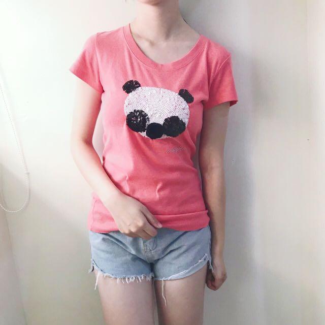 熊貓亮片桃粉色上衣