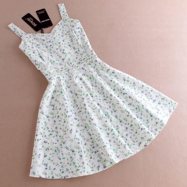 韓國訂製小碎花收腰洋裝