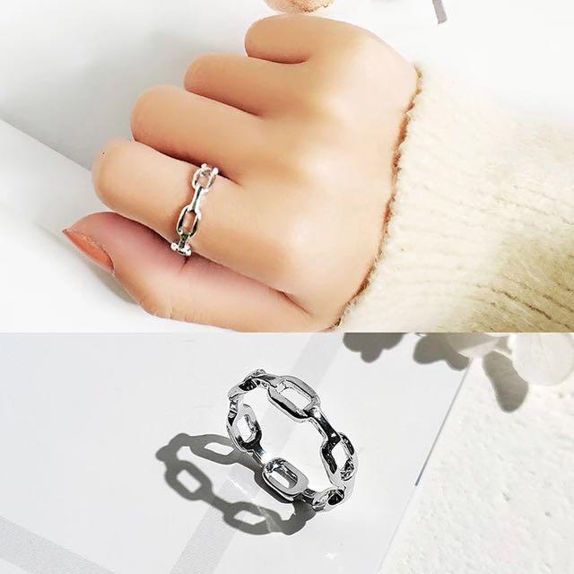 銀色鏤空鏈式戒指