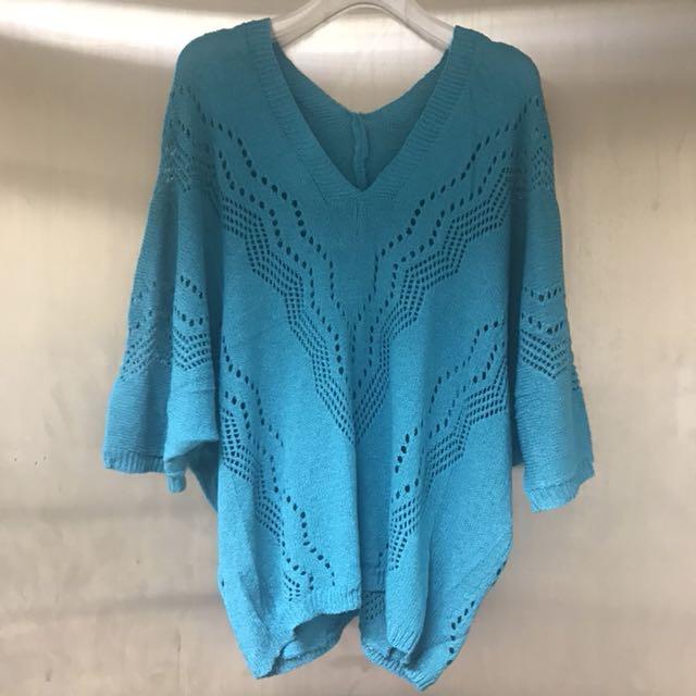 藍綠色針織上衣 罩衫