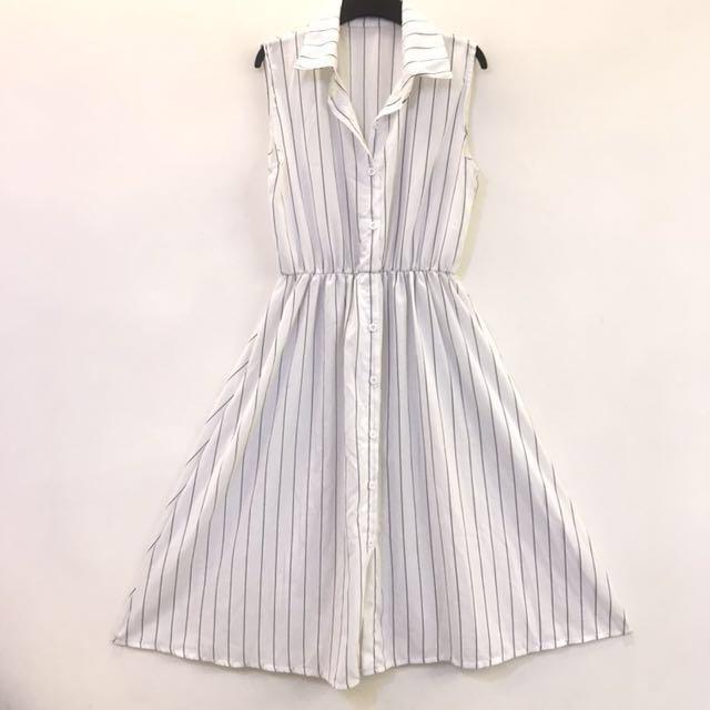 無袖 長版 襯衫洋裝