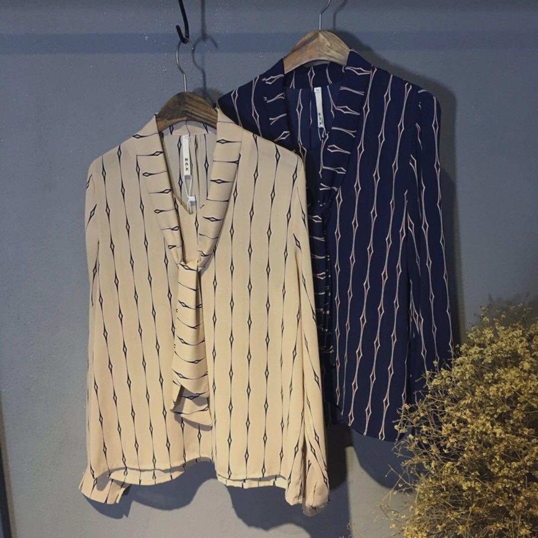 芷苁夕家 奶茶色 寬鬆款蝴蝶結綁帶雪紡襯衫
