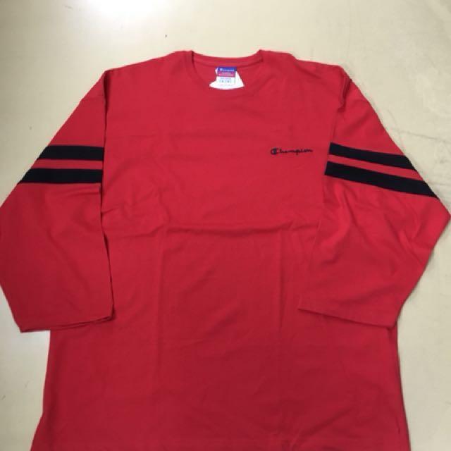 美版 Champion 紅色 七分袖美式休閒運動上衣