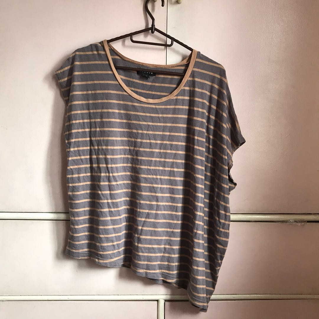 Asymmetrical striped top