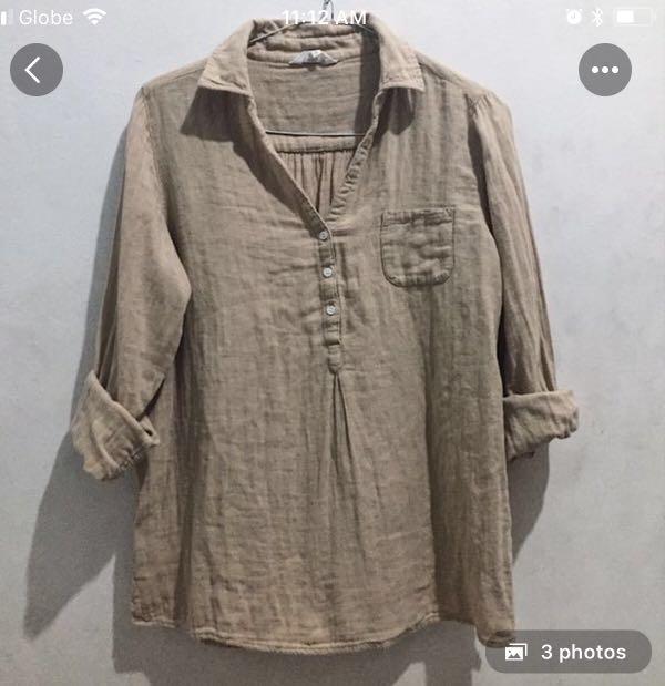 Beige linen blouse