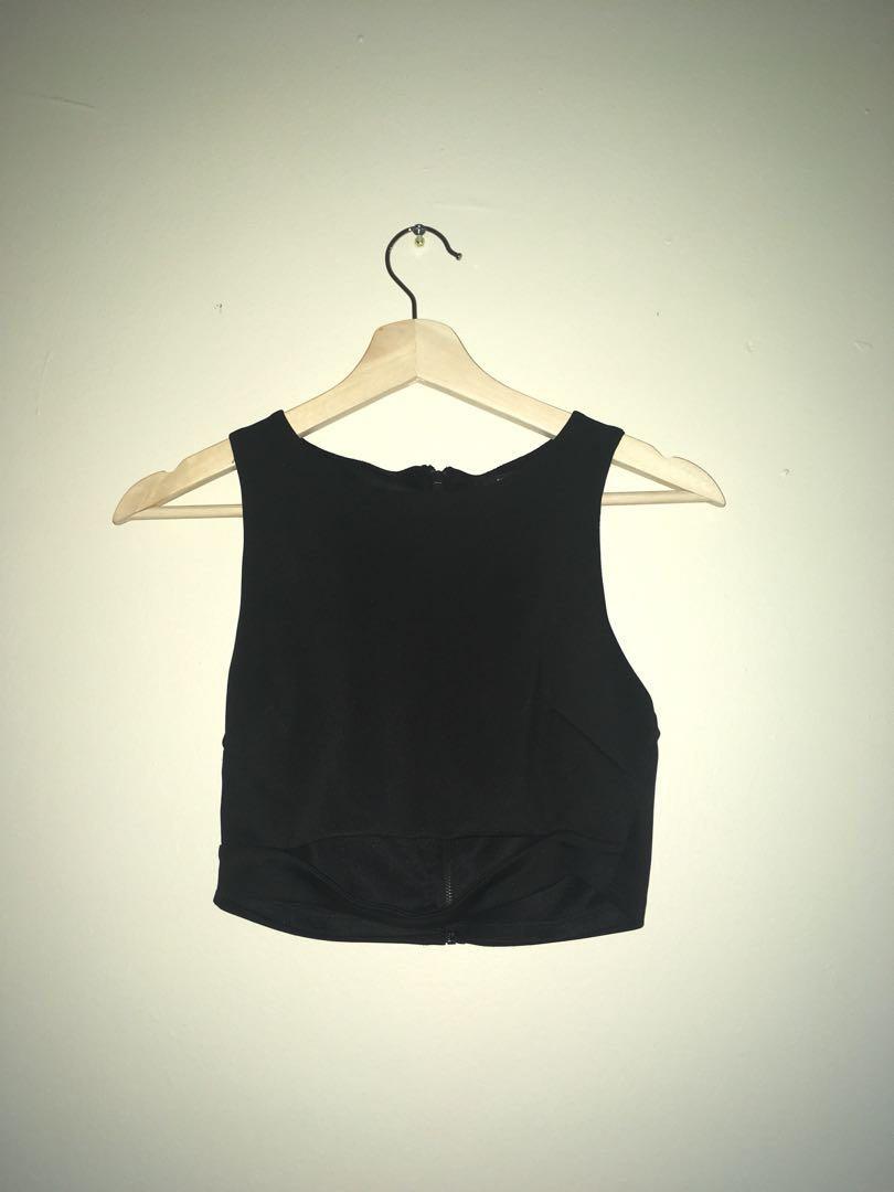 Black Open Tummy Soft Crop