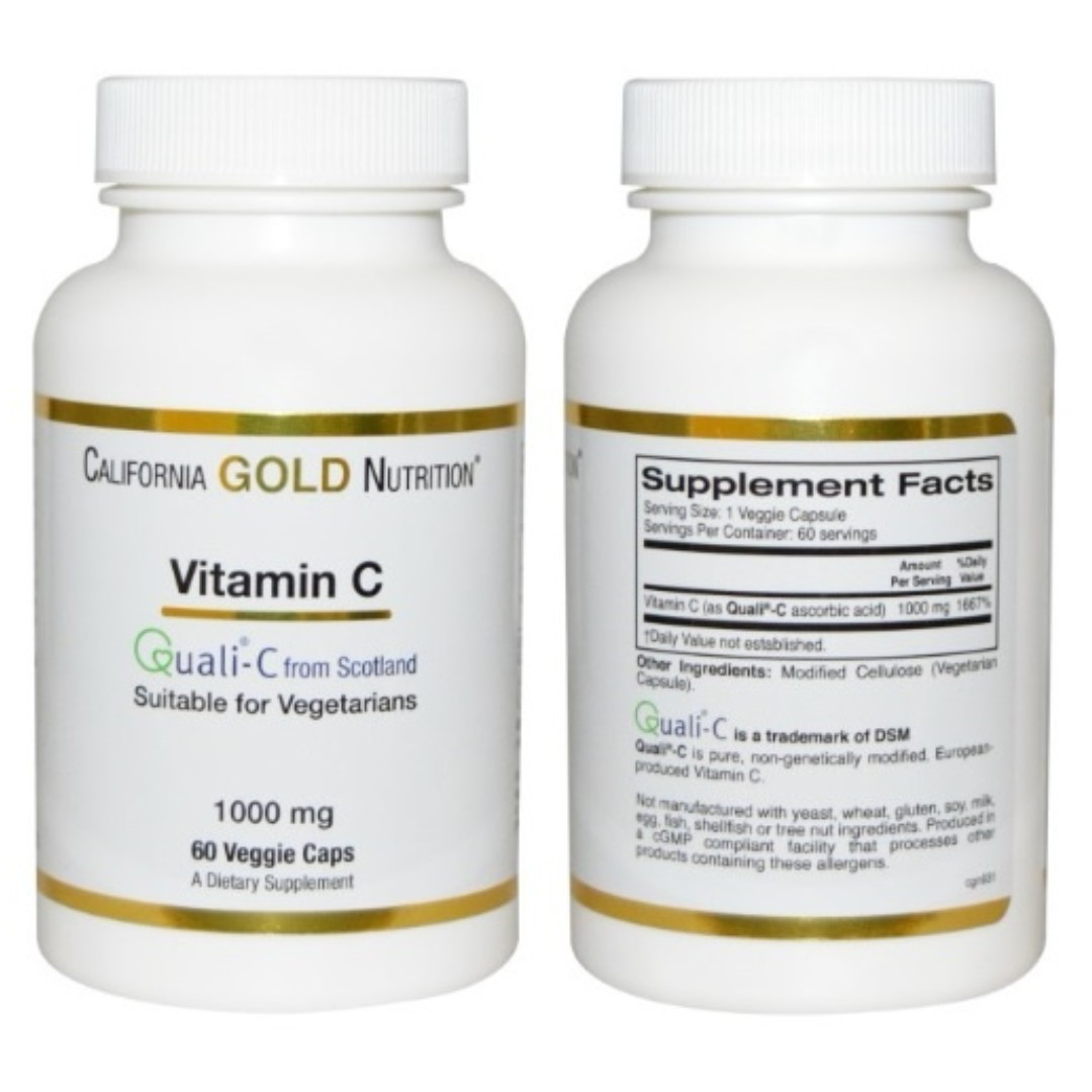0c037b6b9ba California Gold Nutrition Vitamin C, Quali-C 1000 mg 60 Veggie Caps ...