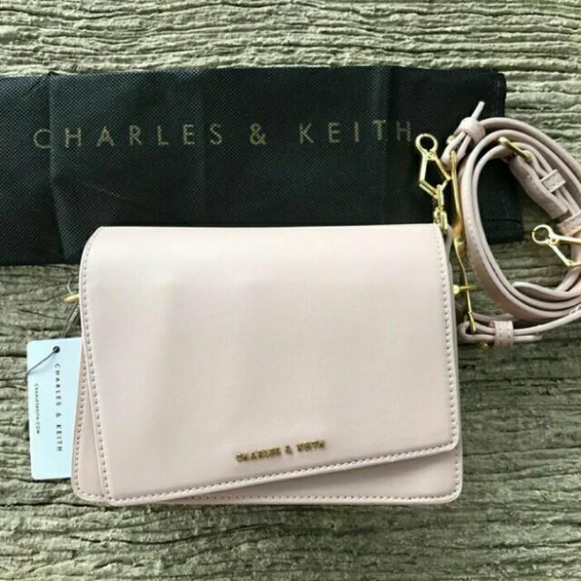 Charles & Keith Dusty Pink Sling Bag 100% Original