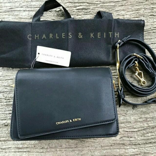 Charles & Keith Sling Bag Black 100% Original