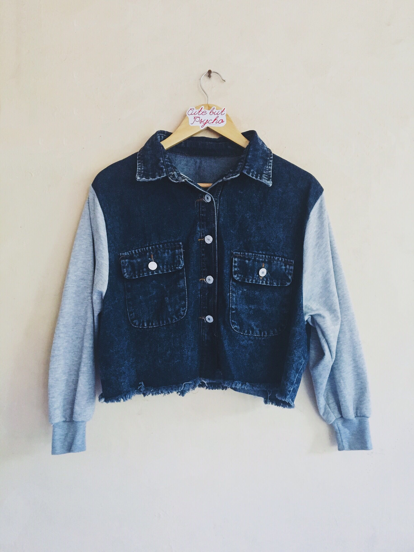 Dark Blue Semi Cropped Jacket