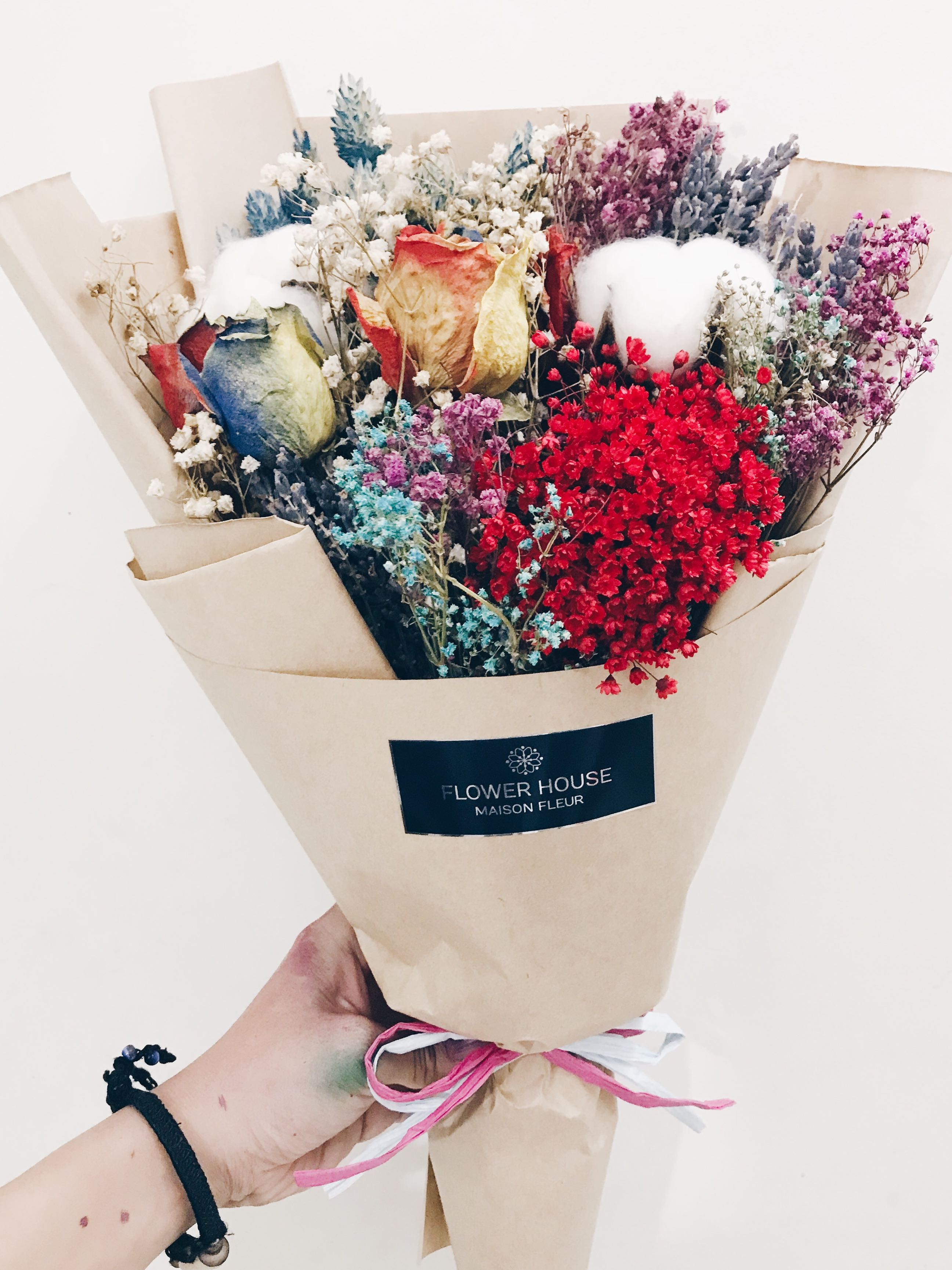 Designer cotton mixed dry flowers bouquet gardening on carousell photo photo izmirmasajfo Images