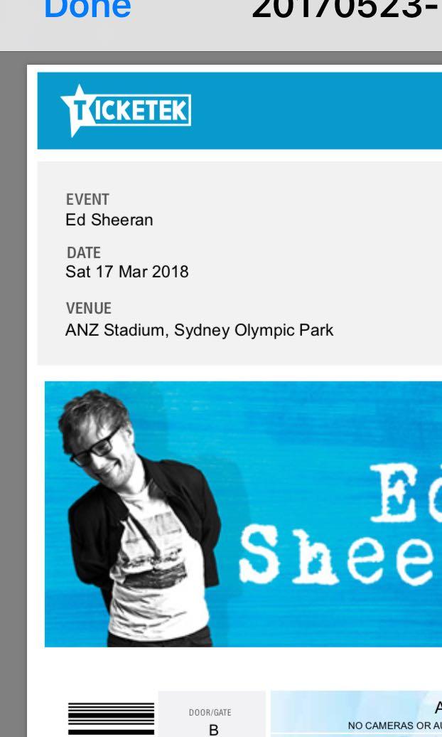 Ed Sheeran Ticket 17th