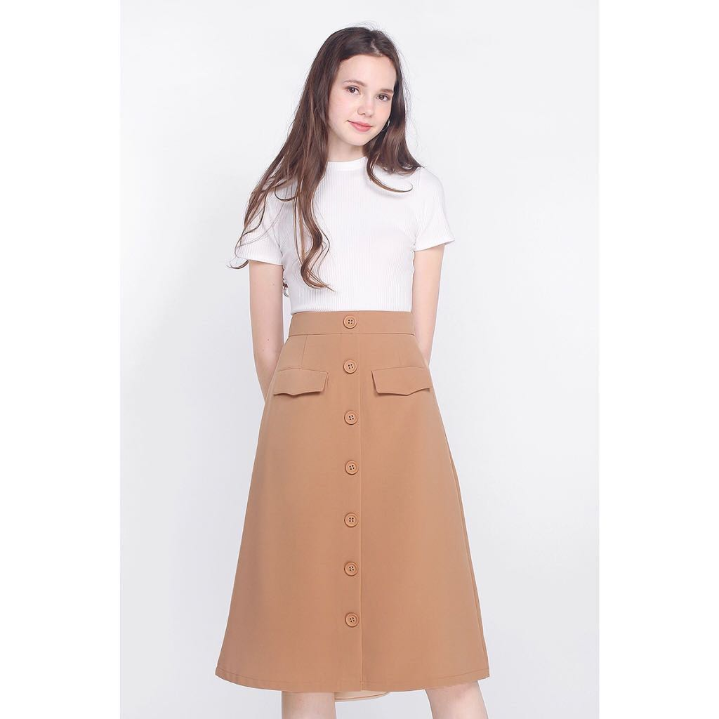 Fayth neith utilitarian midi skirt, tan