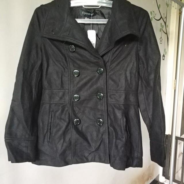 Forever 21 black coat jacket winter simple wind